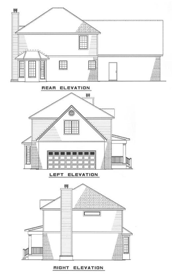 Colonial, Country, Southern House Plan 82073 with 3 Beds, 3 Baths, 2 Car Garage Rear Elevation