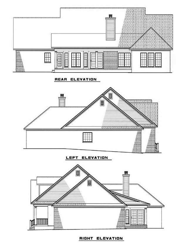 Country, Traditional House Plan 82078 with 3 Beds, 2 Baths, 2 Car Garage Rear Elevation