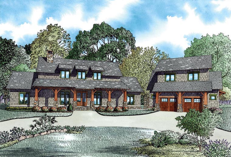 Country, Craftsman, Farmhouse House Plan 82085 with 5 Beds, 4 Baths, 2 Car Garage Front Elevation