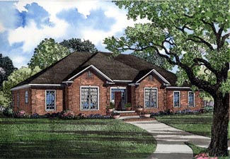 Traditional House Plan 82093 with 4 Beds, 3 Baths, 2 Car Garage Elevation