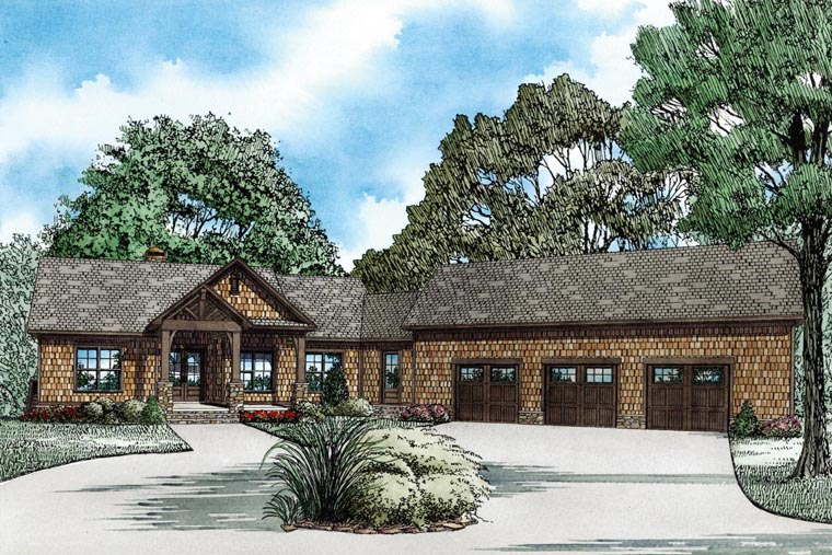 Country, Craftsman House Plan 82100 with 4 Beds, 4 Baths, 3 Car Garage Front Elevation