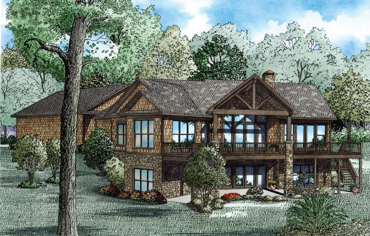 Country, Craftsman House Plan 82100 with 4 Beds, 4 Baths, 3 Car Garage Rear Elevation