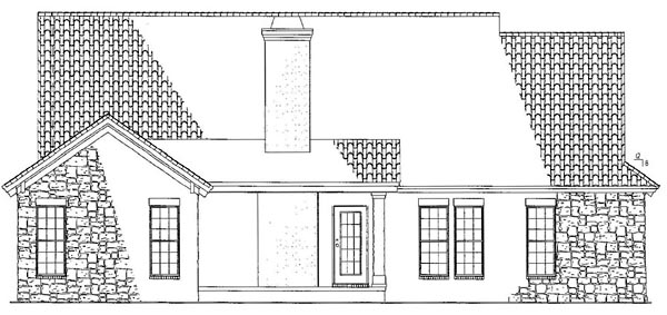 Craftsman, Italian, Mediterranean House Plan 82109 with 3 Beds, 2 Baths, 2 Car Garage Rear Elevation