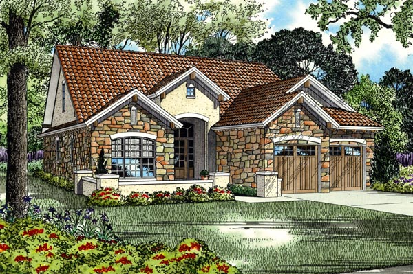 Italian, Mediterranean, Tuscan House Plan 82112 with 4 Beds, 3 Baths, 2 Car Garage Front Elevation