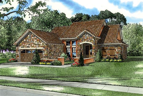 Craftsman, Italian, Mediterranean House Plan 82113 with 3 Beds, 2 Baths, 2 Car Garage Front Elevation