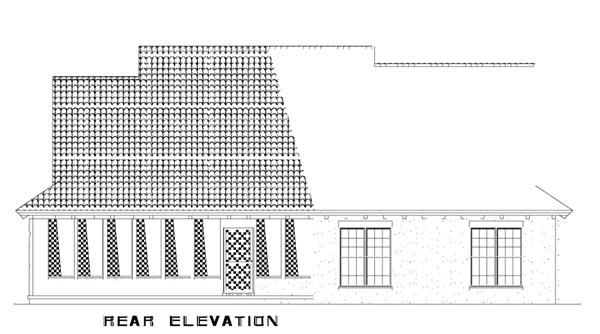 Craftsman, Italian, Mediterranean House Plan 82113 with 3 Beds, 2 Baths, 2 Car Garage Rear Elevation