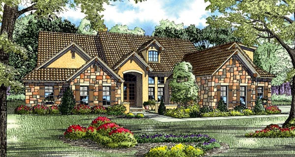 Craftsman, Italian, Mediterranean House Plan 82117 with 5 Beds, 4 Baths, 3 Car Garage Elevation