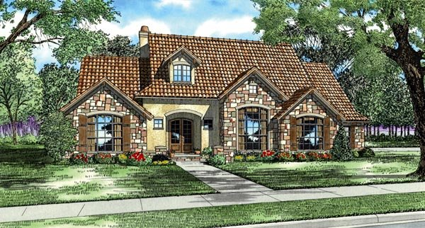 Italian, Mediterranean, Tuscan House Plan 82118 with 4 Beds, 4 Baths, 3 Car Garage Front Elevation