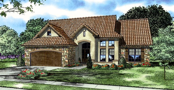 Italian, Mediterranean, Tuscan House Plan 82120 with 3 Beds, 2 Baths, 2 Car Garage Elevation