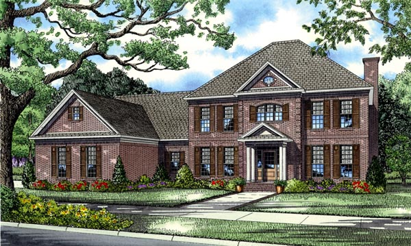 Colonial, European, Plantation House Plan 82126 with 5 Beds, 4 Baths, 3 Car Garage Elevation