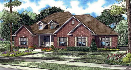 Traditional House Plan 82130 with 4 Beds, 4 Baths, 3 Car Garage Front Elevation