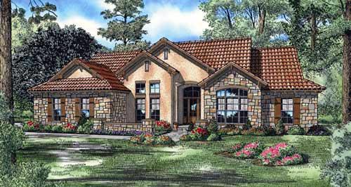 Mediterranean House Plan 82133 with 4 Beds, 3 Baths, 2 Car Garage Elevation