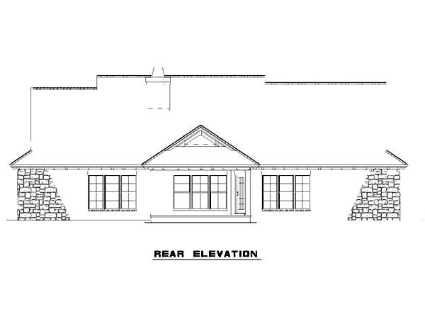 Mediterranean House Plan 82133 with 4 Beds, 3 Baths, 2 Car Garage Rear Elevation