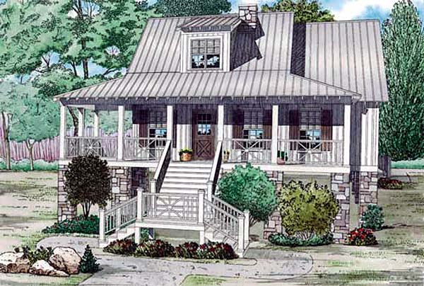 Coastal House Plan 82158 with 3 Beds, 2 Baths Elevation