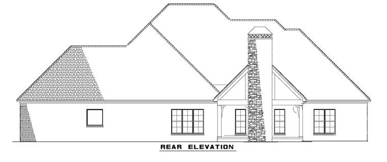 Craftsman, European House Plan 82162 with 3 Beds, 4 Baths, 3 Car Garage Rear Elevation