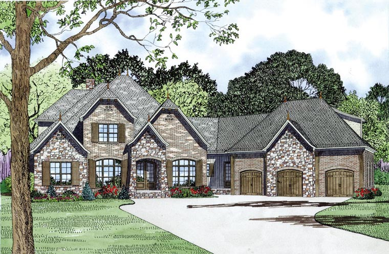 Craftsman, European, French Country House Plan 82164 with 4 Beds, 4 Baths, 3 Car Garage Elevation