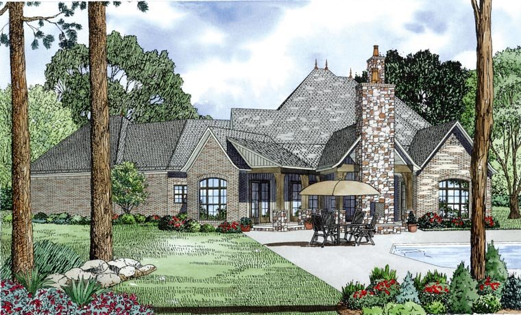 Craftsman, European, French Country House Plan 82164 with 4 Beds, 4 Baths, 3 Car Garage Rear Elevation