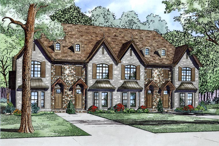 Tudor Multi-Family Plan 82175 with 8 Beds, 12 Baths Front Elevation