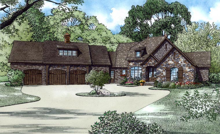 European Multi-Family Plan 82178 with 3 Beds, 5 Baths, 4 Car Garage Front Elevation