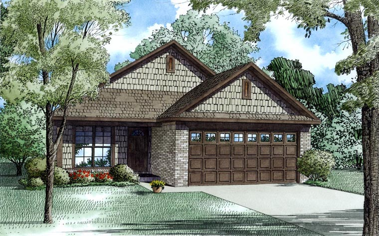 Craftsman House Plan 82181 with 3 Beds, 2 Baths, 2 Car Garage Elevation