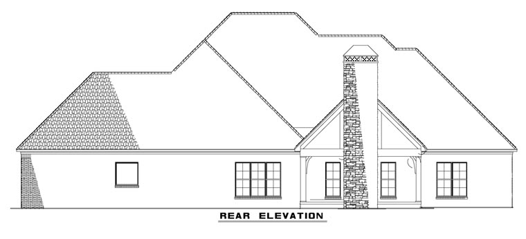 Craftsman, European House Plan 82230 with 4 Beds, 4 Baths, 3 Car Garage Rear Elevation
