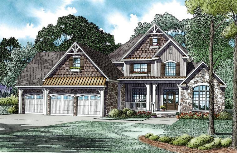 Craftsman, European House Plan 82235 with 4 Beds, 4 Baths, 3 Car Garage Elevation