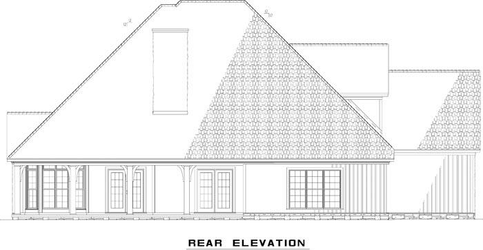 Craftsman, European House Plan 82235 with 4 Beds, 4 Baths, 3 Car Garage Rear Elevation