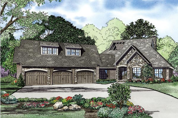 European House Plan 82242 with 4 Beds, 4 Baths, 3 Car Garage Elevation