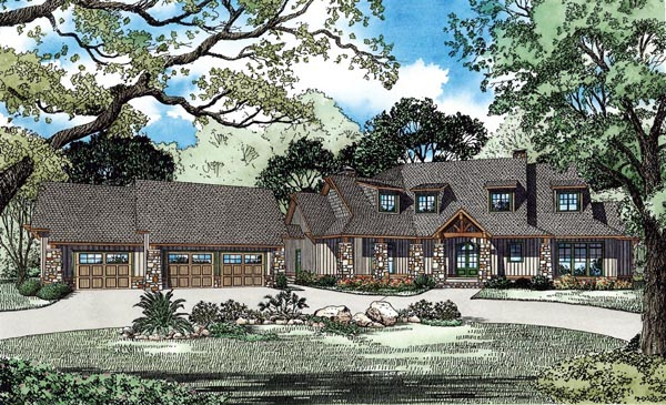 Craftsman, European, Tuscan House Plan 82261 with 5 Beds, 6 Baths, 3 Car Garage Front Elevation