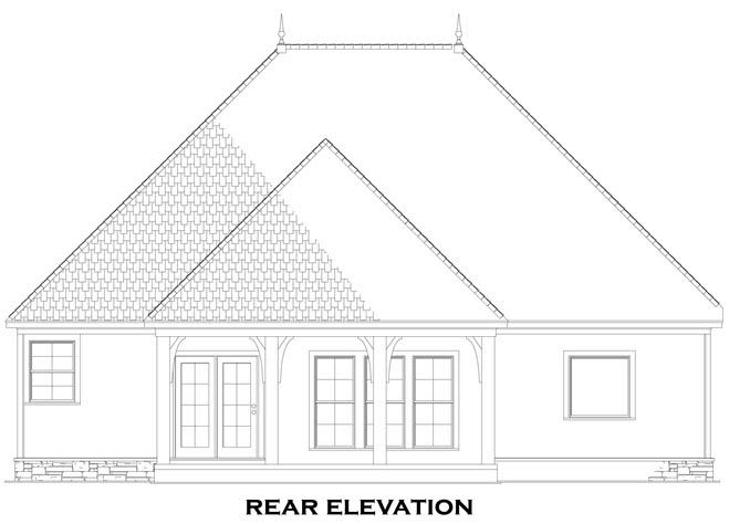 Craftsman, European, Tuscan House Plan 82272 with 3 Beds, 2 Baths, 2 Car Garage Rear Elevation
