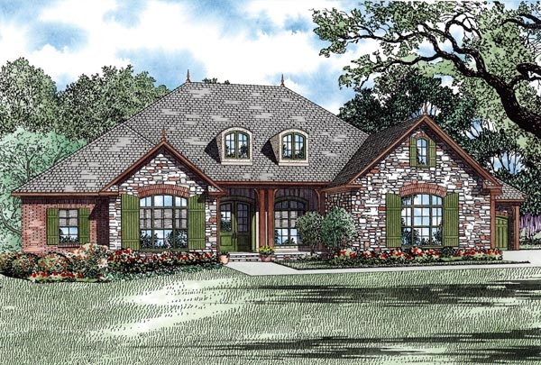 Country, Craftsman, European House Plan 82275 with 3 Beds, 3 Baths, 4 Car Garage Elevation