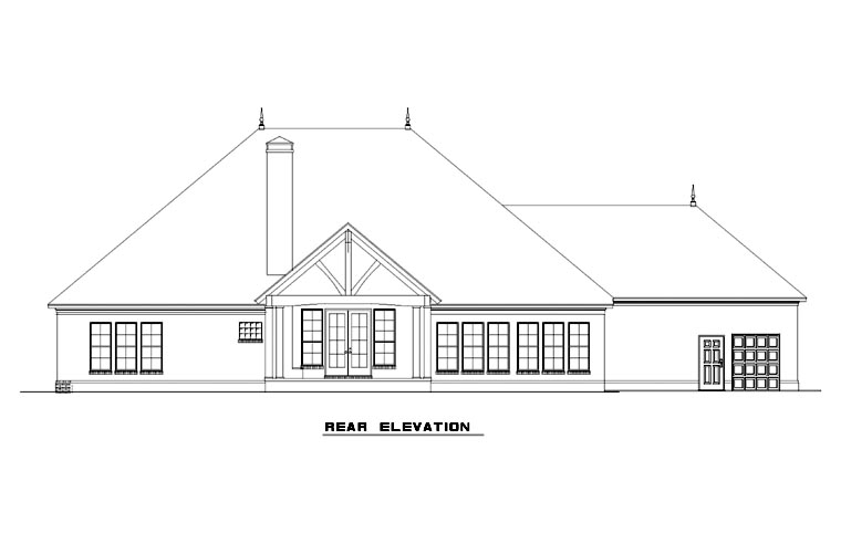 Country, Craftsman, European House Plan 82275 with 3 Beds, 3 Baths, 4 Car Garage Rear Elevation