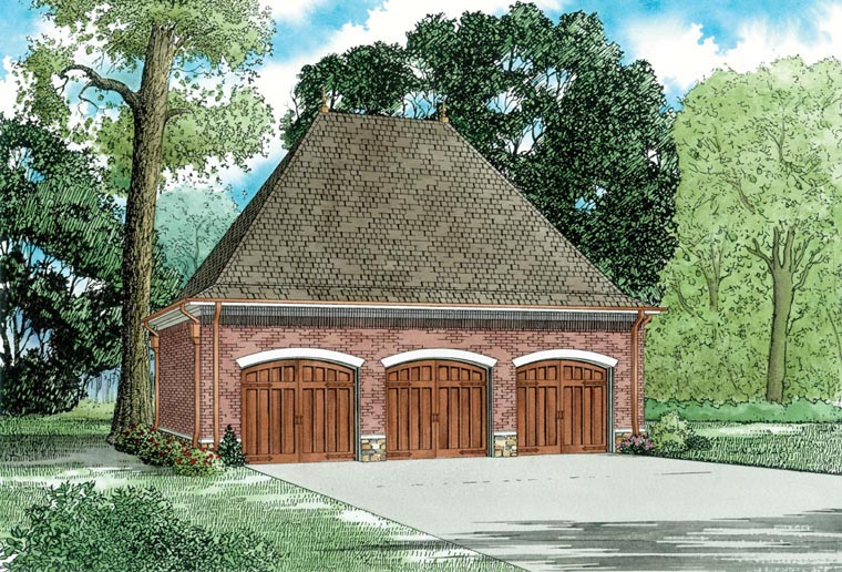 3 Car Garage Plan 82326 Elevation