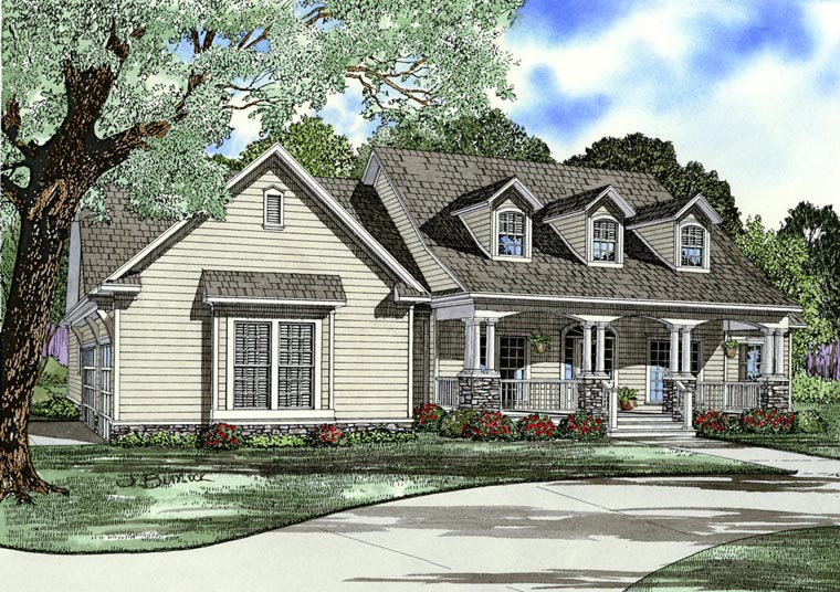 Country, Southern, Traditional House Plan 82332 with 4 Beds, 3 Baths, 3 Car Garage Elevation