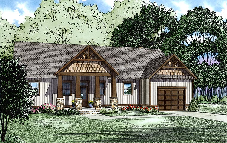 Craftsman, Ranch House Plan 82335 with 3 Beds, 4 Baths, 1 Car Garage Elevation
