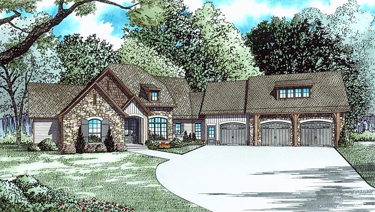 Craftsman, European House Plan 82339 with 4 Beds, 5 Baths, 3 Car Garage Elevation