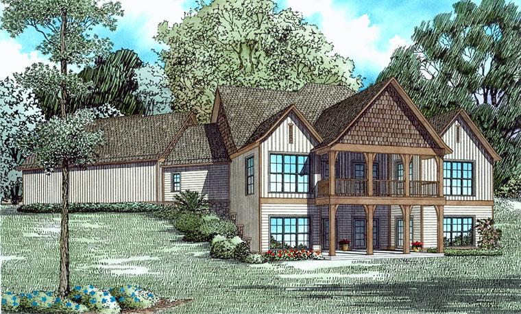 Craftsman, European House Plan 82339 with 4 Beds, 5 Baths, 3 Car Garage Rear Elevation