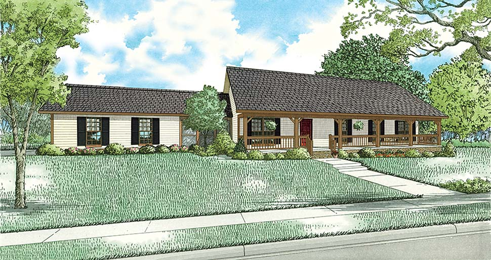 Country, Ranch House Plan 82350 with 3 Beds, 2 Baths, 2 Car Garage Elevation