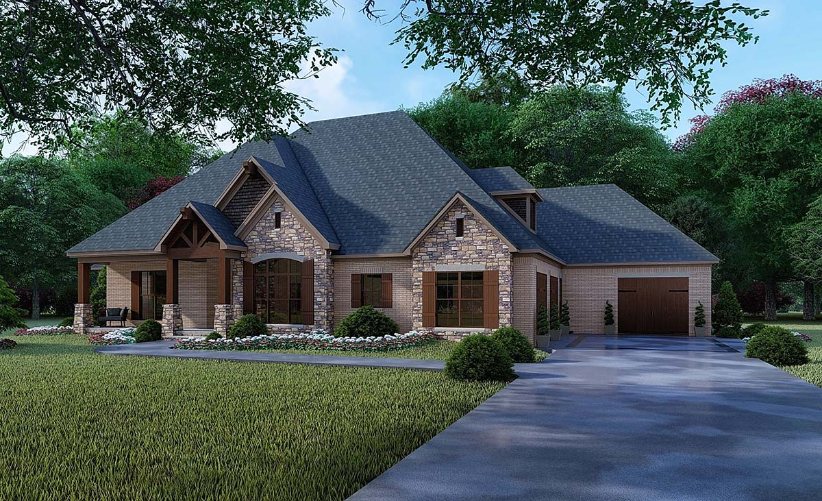 Craftsman, European House Plan 82356 with 4 Beds, 5 Baths, 3 Car Garage Elevation