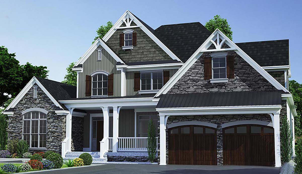 Bungalow, Craftsman, Farmhouse, Traditional House Plan 82366 with 3 Beds, 4 Baths, 2 Car Garage Elevation