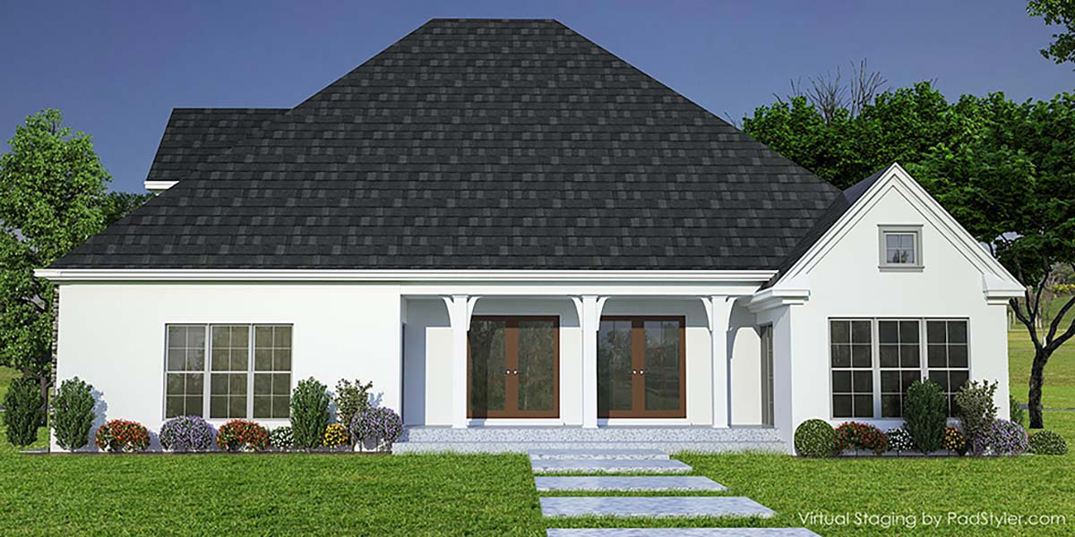 Bungalow, Craftsman, Farmhouse, Traditional House Plan 82366 with 3 Beds, 4 Baths, 2 Car Garage Rear Elevation