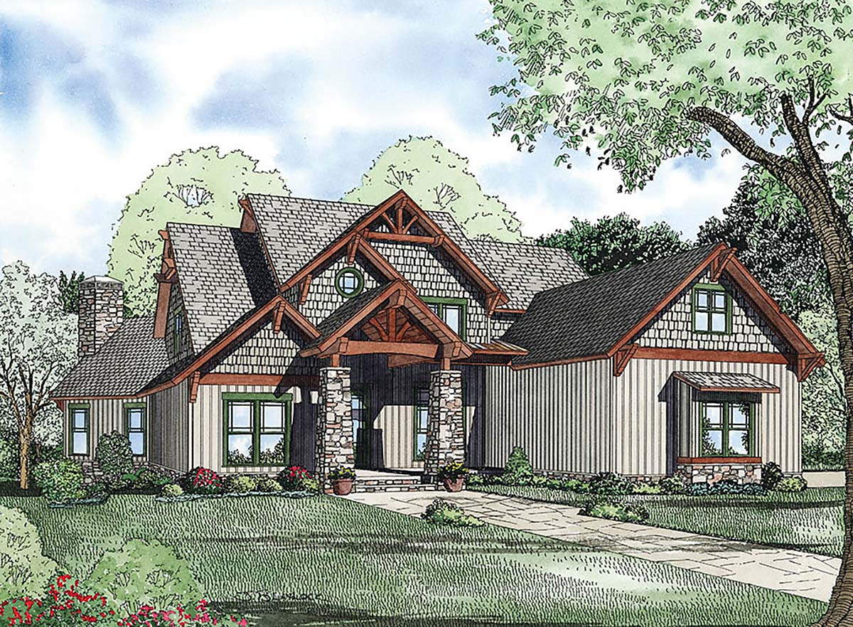 Bungalow, Craftsman House Plan 82367 with 4 Beds, 3 Baths, 3 Car Garage Elevation
