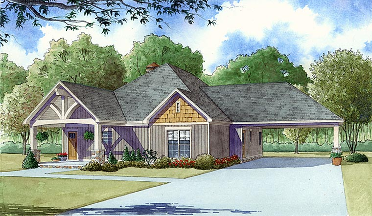 Craftsman, Traditional House Plan 82403 with 2 Beds, 2 Baths, 2 Car Garage Front Elevation