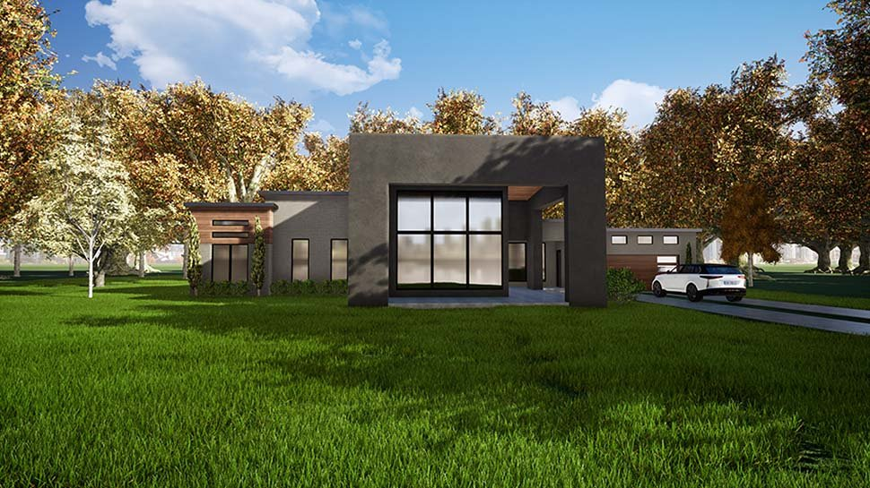Contemporary, Modern House Plan 82411 with 3 Beds, 3 Baths, 2 Car Garage Elevation