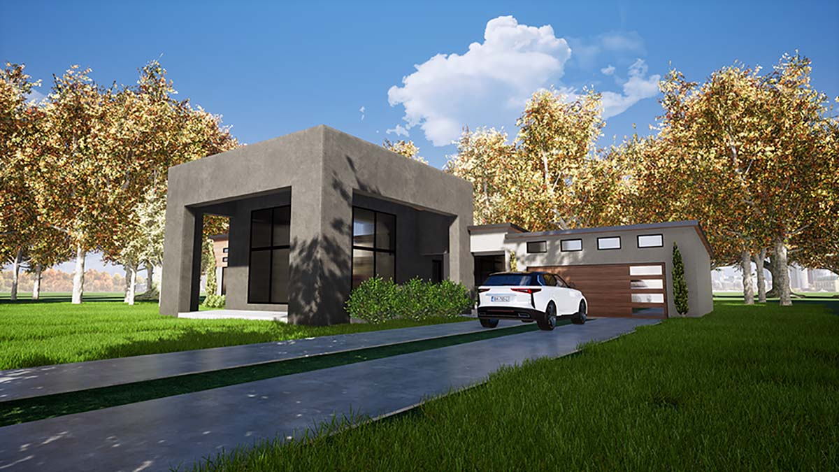 Contemporary, Modern House Plan 82411 with 3 Beds, 3 Baths, 2 Car Garage Picture 1
