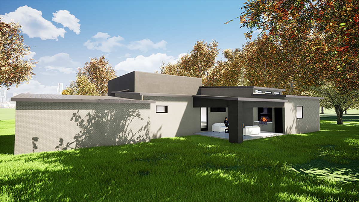Contemporary, Modern House Plan 82411 with 3 Beds, 3 Baths, 2 Car Garage Rear Elevation