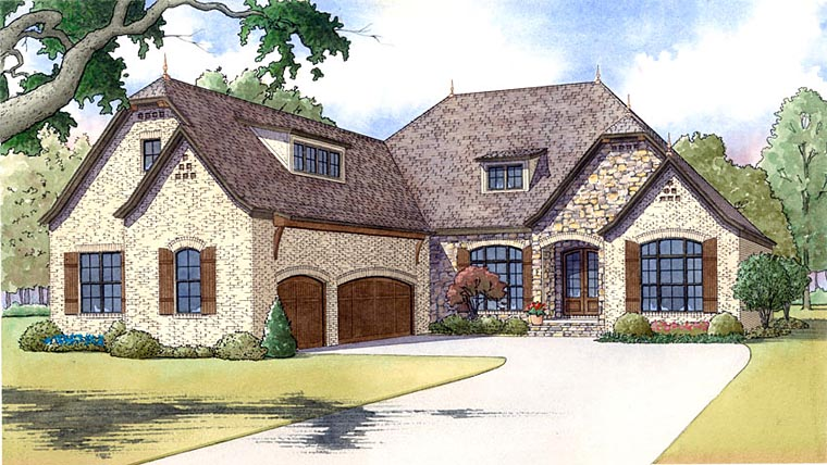 European, French Country House Plan 82419 with 3 Beds, 4 Baths, 3 Car Garage Elevation