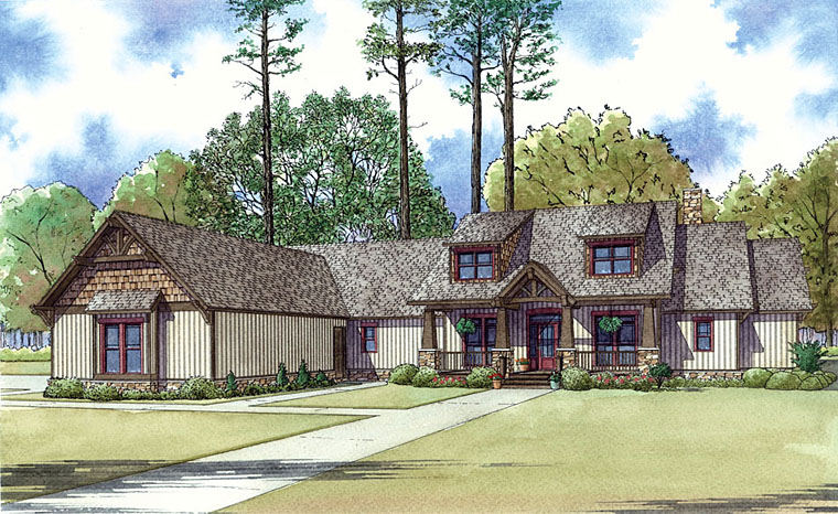 Bungalow, Cottage, Country, Craftsman, Southern House Plan 82433 with 4 Beds, 4 Baths, 3 Car Garage Elevation