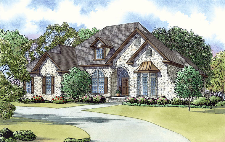 European, Southern, Traditional House Plan 82435 with 3 Beds, 3 Baths, 2 Car Garage Front Elevation