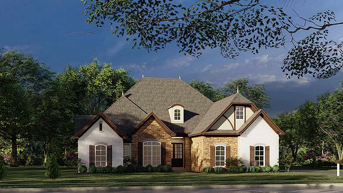 European, French Country, Tudor House Plan 82447 with 4 Beds, 3 Baths, 2 Car Garage Elevation